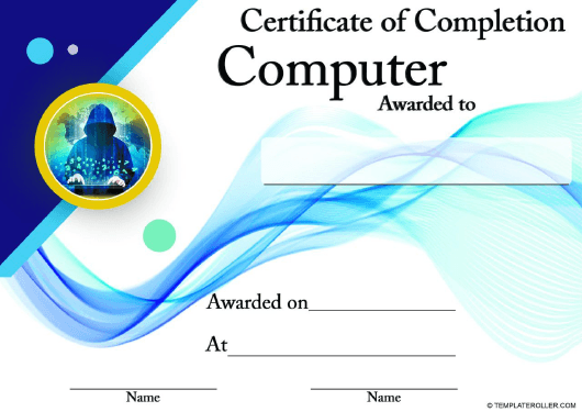 """Computer Courses Completion Certificate Template"" Download Pdf"