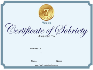 """""""7 Years Certificate of Sobriety Template"""""""