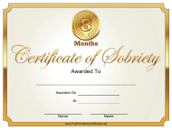 """""""8 Months Certificate of Sobriety Template"""""""