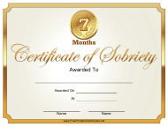 """""""7 Months Certificate of Sobriety Template"""""""