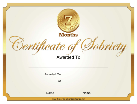 """7 Months Certificate of Sobriety Template"" Download Pdf"