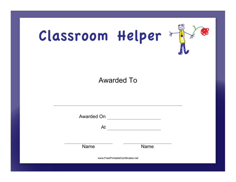 """Classroom Helper Boy Certificate Template"" Download Pdf"