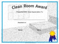 """Clean Room Award Certificate Template"""