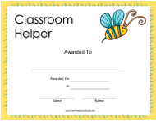 """Classroom Helper Certificate Template"""