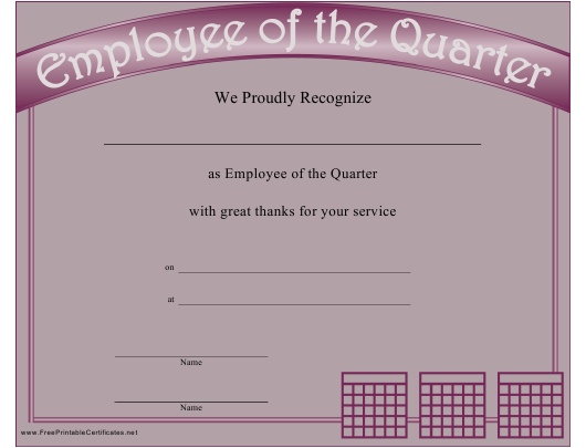"""""""Employee of the Quarter Recognition Certificate Template"""" Download Pdf"""