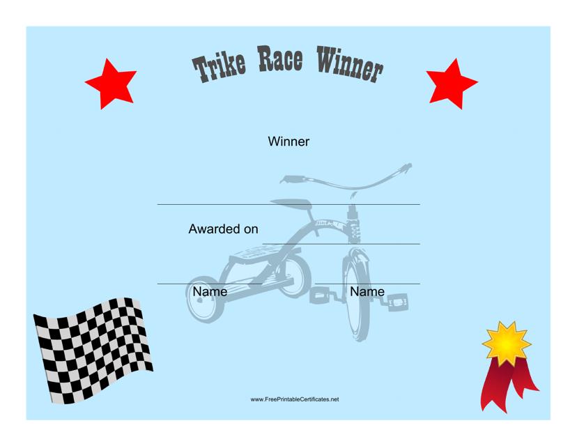 """Tricycle Race Winner Certificate Template"" Download Pdf"