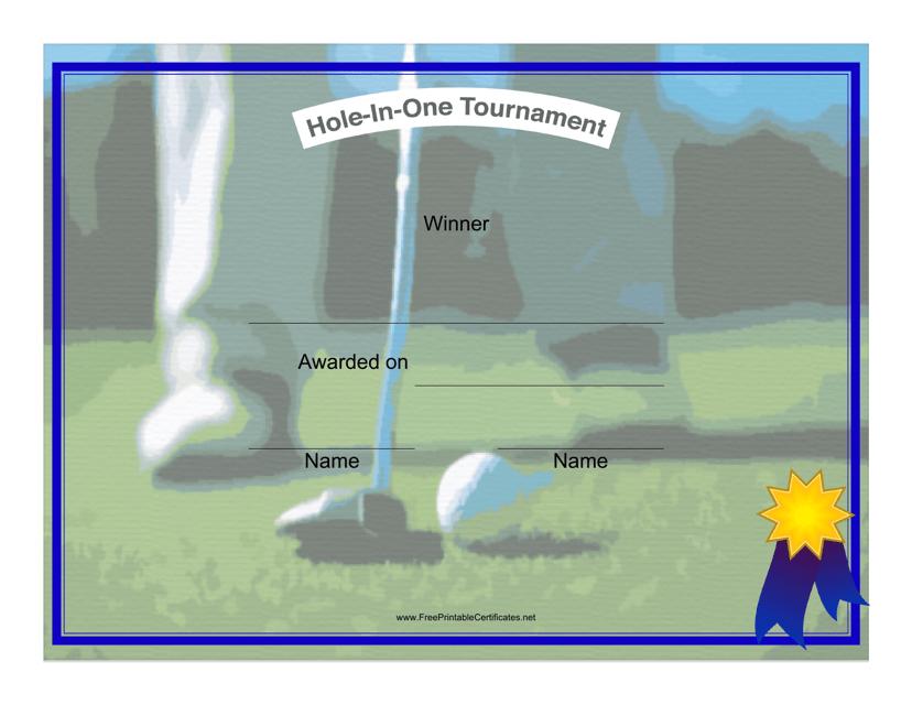 """Golf Winner Certificate Template"" Download Pdf"
