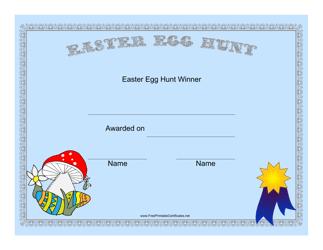 """""""Easter Egg Hunt Winner Certificate Template"""""""