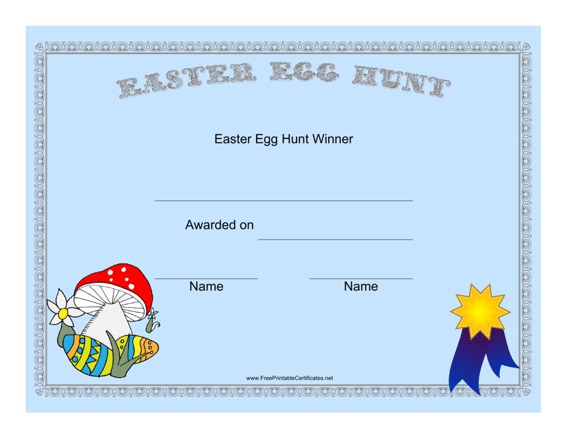 """Easter Egg Hunt Winner Certificate Template"" Download Pdf"