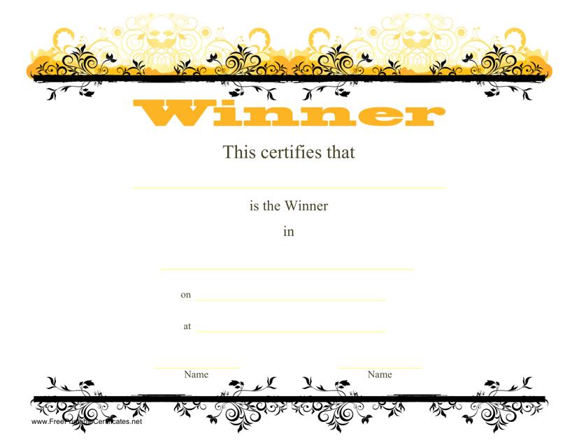 """Winner Certificate Template"" Download Pdf"