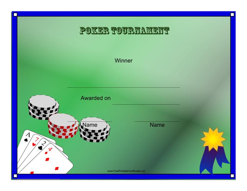 """Poker Tournament Winner Certificate Template"" Download Pdf"