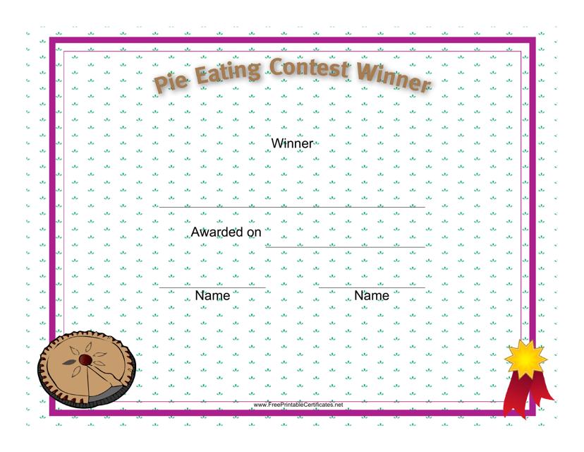 """Pie Eating Winner Certificate Template"" Download Pdf"