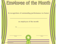 """Employee of the Month Certificate Template"""