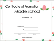 """Middle School Certificate of Promotion Template"""