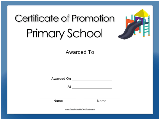 """Primary School Promotion Certificate Template"" Download Pdf"