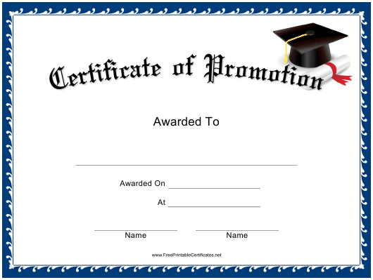 """Promotion Certificate Template"" Download Pdf"