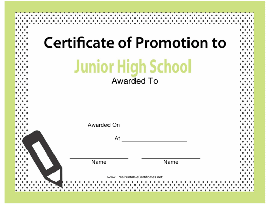 """Junior High School Promotion Template"" Download Pdf"