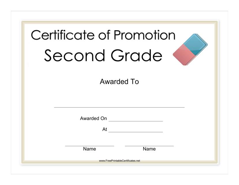 """Second Grade Promotion Certificate"" Download Pdf"