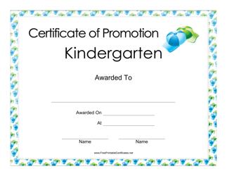 """Kindergarten Promotion Certificate Template"""