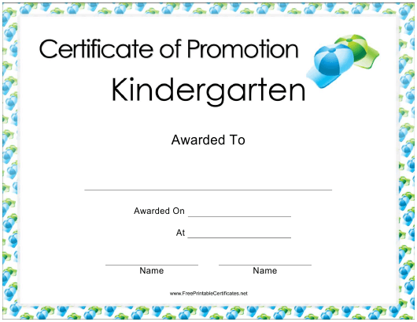 """Kindergarten Promotion Certificate Template"" Download Pdf"
