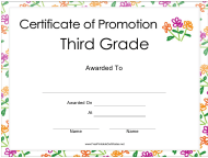 """Third Grade Certificate of Promotion Template"""