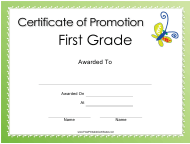 """First Grade Promotion Certificate Template"""