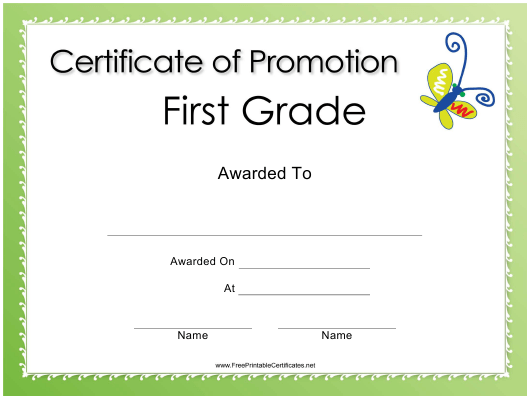 """First Grade Promotion Certificate Template"" Download Pdf"