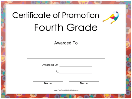"""""""Forth Grade Certificate of Promotion Template"""" Download Pdf"""