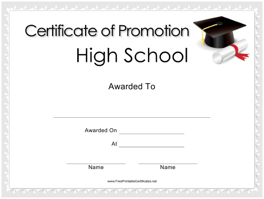"""""""High School Promotion Certificate Template"""" Download Pdf"""