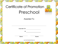 """Preschool Certificate of Promotion Template"""