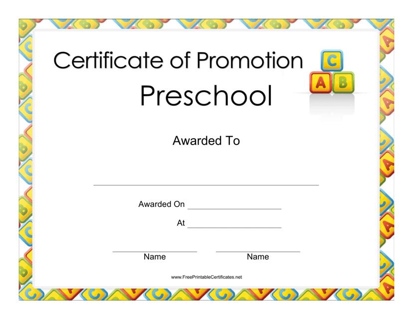 """Preschool Certificate of Promotion Template"" Download Pdf"