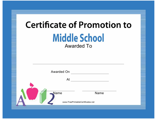 """""""Middle School Certificate of Promotion Template"""" Download Pdf"""