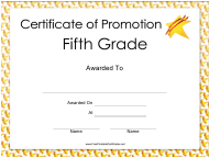 """Fifth Grade Certificate of Promotion Template"""