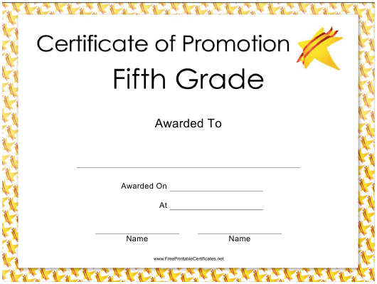 """""""Fifth Grade Certificate of Promotion Template"""" Download Pdf"""