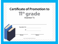 """11th Grade Certificate of Promotion Template"""