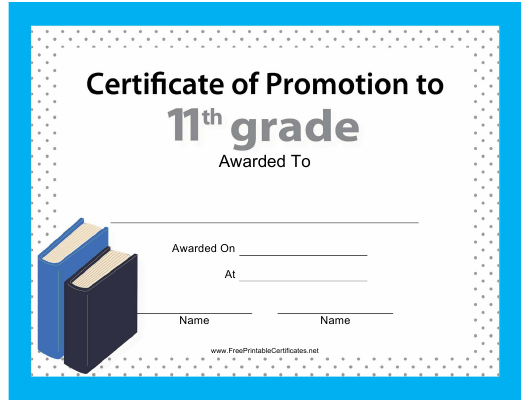 """11th Grade Certificate of Promotion Template"" Download Pdf"