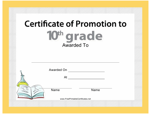 """""""Tenth Grade Promotion Certificate Template"""" Download Pdf"""