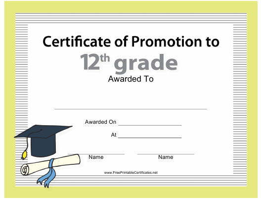 """""""12th Certificate of Promotion Template"""" Download Pdf"""