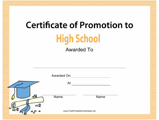 """High School Certificate of Promotion Template"" Download Pdf"