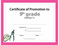 """9th Grade Certificate of Promotion Template"""