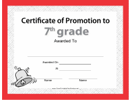 """Seventh Grade Certificate of Promotion Template"""