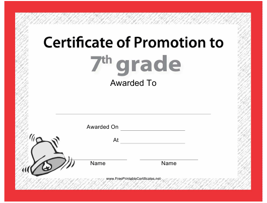 """""""Seventh Grade Certificate of Promotion Template"""" Download Pdf"""