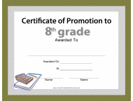"""8th Grade Certificate of Promotion Template"""