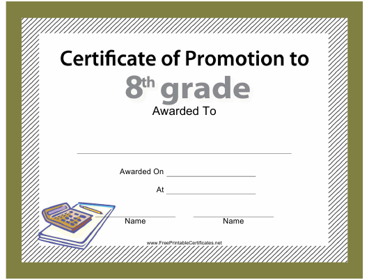 """8th Grade Certificate of Promotion Template"" Download Pdf"