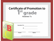 """1st Grade Certificate of Promotion Template"""