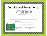 """3st Grade Certificate of Promotion Template"""