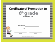 """6th Grade Certificate of Promotion Template"""
