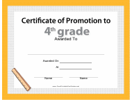 """Fourth Grade Promotion Certificate Template"""