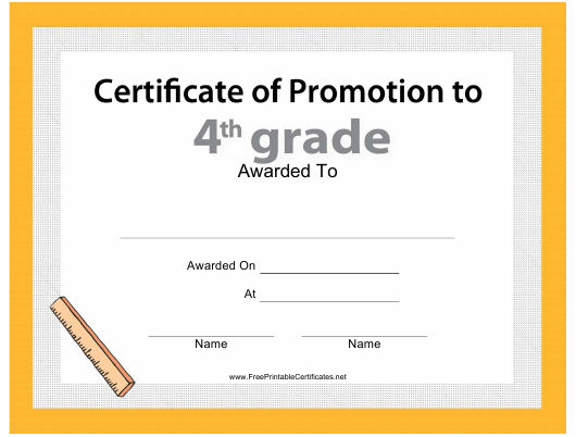 """""""Fourth Grade Promotion Certificate Template"""" Download Pdf"""