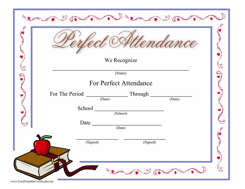 """Perfect Attendance Certificate Template"" Download Pdf"